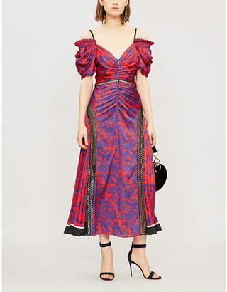 Self-Portrait Off-the-shoulder lace-panelled printed satin midi dress