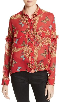 Women's The Kooples Print Ruffled Silk Shirt $295 thestylecure.com