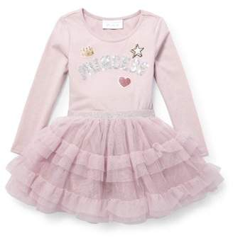 Children's Place The Baby And Toddler Girls Long Sleeve Sequin 'Princess' Patch Knit-To-Woven Ruffle Dress