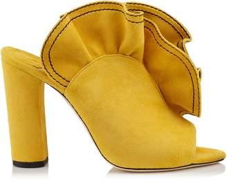 Jimmy Choo HAILE 100 Saffron Suede Open Toe Mule