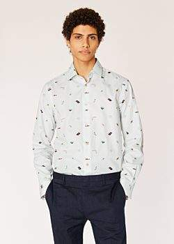 Men's Tailored-Fit Off-White 'Holiday' Print Cotton Shirt With 'People' Cuff Lining
