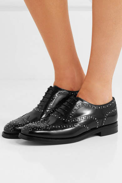 Church's Burwood Met Studded Glossed-leather Brogues