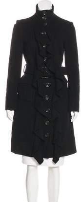 Diane von Furstenberg Ruffle-Trimmed Belted Coat