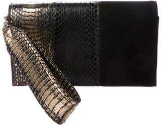 Elena Ghisellini Metallic Snakeskin, Suede & Leather Petra Clutch