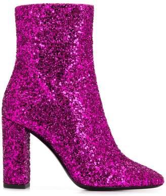 Saint Laurent glitter chunky boots