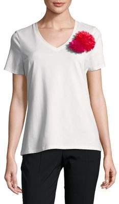 Isaac Mizrahi IMNYC V-Neck Short-Sleeve Floral Applique Tee