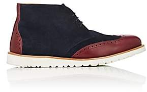 Emporio Armani Men's Suede & Leather Wingtip Chukka Boots-Navy, Burg Size 7.5 M
