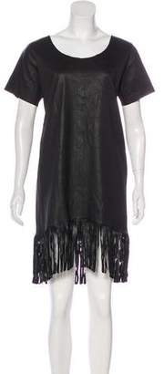 RtA Denim Fringe-Accented Leather Dress w/ Tags