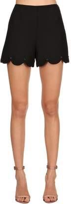 Valentino Scalloped Studded Wool Silk Crepe Shorts