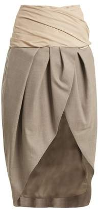 Jacquemus - Asymmetric Draped Wool Wrap Skirt - Womens - Beige