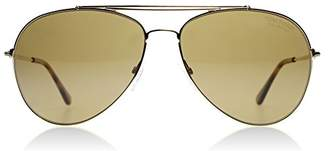 Tom Ford FT0497 28H Shiny Gold Indiana Pilot Sunglasses Polarised Lens Cat