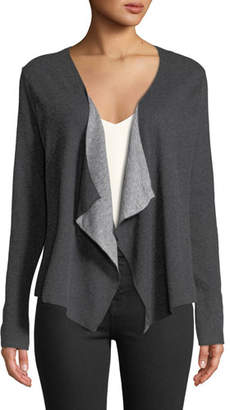 Neiman Marcus Majestic Paris for Draped Cotton-Cashmere Open-Front Cardigan