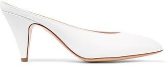 Mansur Gavriel - Heel Slipper Leather Mules - White $495 thestylecure.com