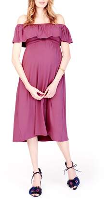 Ingrid & Isabel R) Off the Shoulder Maternity Midi Dress