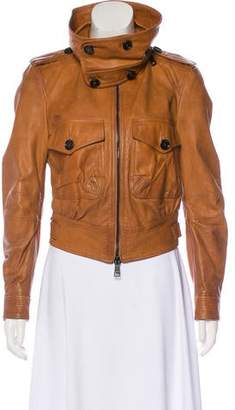 Burberry Leather Zip Jacket