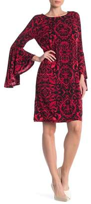 Ronni Nicole Printed Bell Sleeve Shift Dress