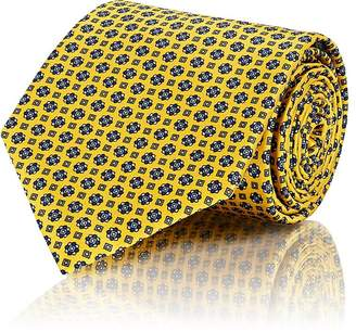 Brioni Men's Medallion-Print Silk Necktie