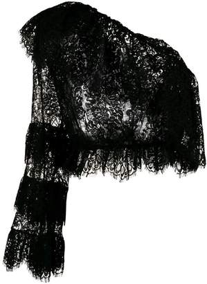 Dundas one shoulder ruffled lace top