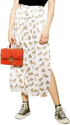 Topshop Western Horse Print Midi Skirt