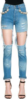 Couture Forte Dei Marmi Embellished Cotton Denim Cut Out Jeans