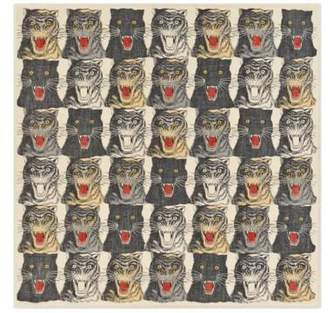 Gucci Tiger Face print wool silk shawl