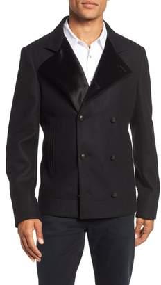 John Varvatos Star USA Velvet Detail Wool Blend Pea Coat