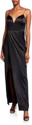 Aidan Mattox Sleeveless Liquid Satin Draped Dress w/ Slit