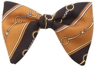 Gucci Horsebit Chain Print Silk Faille Bow Tie - Mens - Brown