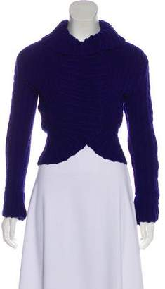 Oscar de la Renta Cropped Cable Knit Sweater