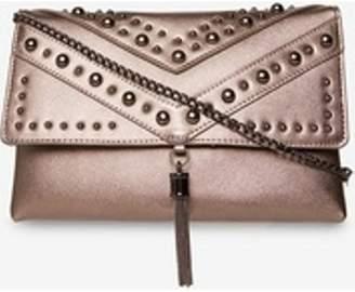 Dorothy Perkins Womens Pewter Studded Tassel Clutch Bag