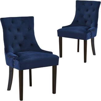 Webster Temple & Set of 2 Navy Windsor Velvet Dining Chairs