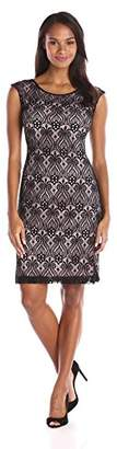 Connected Apparel Women's Cap Sleeve Lace Overlay A Line Dress, Black/Pink