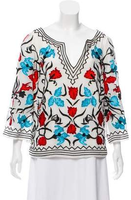Alice + Olivia Embroidered Tunic Top