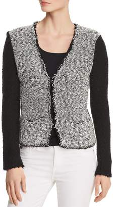 Donna Karan Color-Block Boucle Cardigan