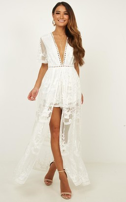 e681480e404 Showpo Lets Get Loud Maxi playsuit in white - 12 (L) Occasion Dresses