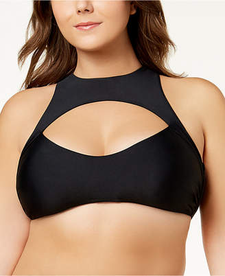 Raisins Curve Trendy Plus High-Neck Cutout Bikini Top Women's Swimsuit