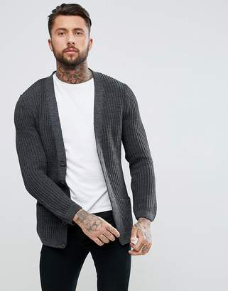 Asos DESIGN knitted cardigan in charcoal