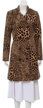 Trina Turk Double-Breasted Animal Print Coat