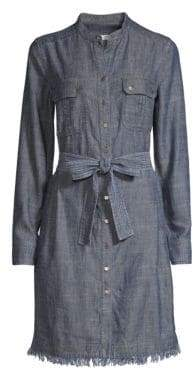 Trina Turk Westside Fringed Denim Shirtdress