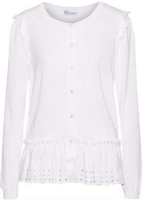 RED Valentino Broderie Anglaise Poplin-Paneled Cotton And Modal-Blend Cardigan
