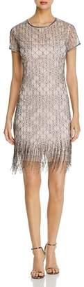 Elie Tahari Winter Beaded Fringe Dress