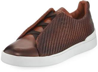 Ermenegildo Zegna Men's Couture Triple-Stitch Pelle Tessuta Leather Low-Top Sneakers