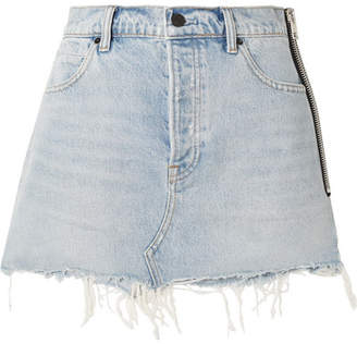 Alexander Wang Zip-embellished Frayed Denim Mini Skirt - Light denim
