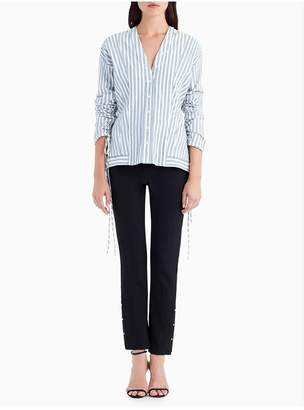 Jason Wu Striped Cotton V-Neck Blouse With Drawstring Rouching