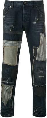 Diesel Black Gold contrasting patchwork slim jeans