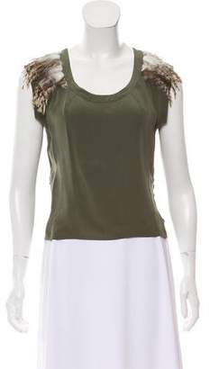 Madison Marcus Leather Accented Silk Sleeveless Top
