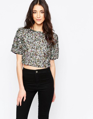 Glamorous Sequin Crop T-Shirt $79 thestylecure.com
