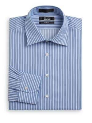 Saks Fifth Avenue BLACK Striped Cotton Slim-Fit Dress Shirt