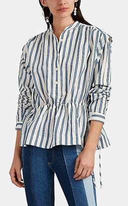 Derek Lam 10 Crosby Women's Striped Slub Drawstring Peplum Blouse - White