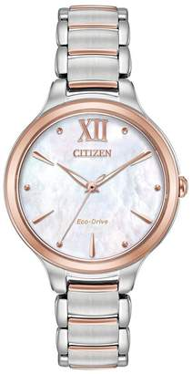 Citizen Eco-Drive L Collection Rose Gold Two-Tone Stainless Steel Bracelet Ladies Watch